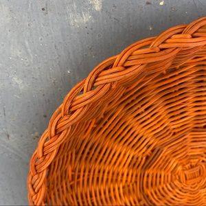 Vintage Flat Wicker Basket